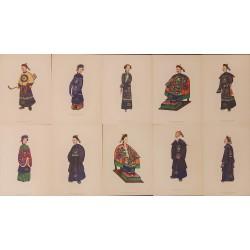 Costume antice japoneze - Colectie completa de 10 stampe originale Bouty