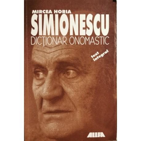 Dictionar onomastic - Mircea Horia Simionescu